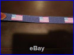 SMATHERS & BRANSON Blue Needlepoint USA AMERICAN FLAG Mens Belt 38