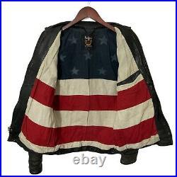 Schott USA Japan 3151041 Stars Stripes Flag Lined Leather Jacket S XS XXS 36 34