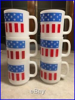 Set 6 Vintage Glasbake Glassbake American Flag Mug/Cup Milk Glass STACKABLE USA