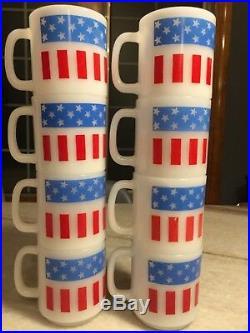 Set 8 Vintage Glasbake Glassbake American Flag Mug/Cup Milk Glass STACKABLE USA