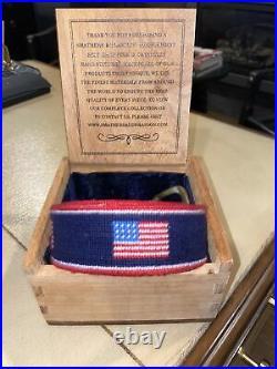 Smathers & Branson American Flag Needlepoint Belt Size 34. USA! USA