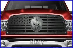 Steel Grille for Dodge Ram 1500 09-12 Flag with SKULL