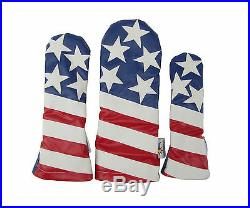 Sunfish Liberty Leather golf headcover set DR, FW, HB USA American flag