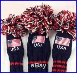 Sunfish Old Glory Knit Wool golf headcover set DR, FW, HB USA American flag