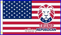 TRUMP REPUBLICAN LION USA MAGA FLag 2x3 Foot ROUGH TEX Flag UV AMERICAN FLAGS