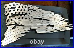 Tattered American Flag NEW 21 X 35 Metal Art USA Made Polished Steel