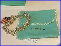 Tiffany & Co. (2001 Retired) American Flag USA Sterling Silver Bracelet 7