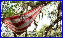 Twisted Root Design USA American Wood Flag Print Hammock Camping with Stuff Sack
