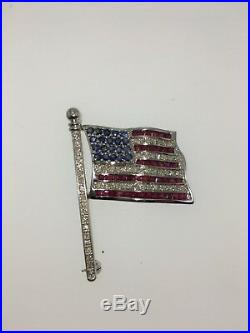 UNIQUE USA American Flag Pin 14K White Gold with Diamond's & Ruby's & Sapphire's