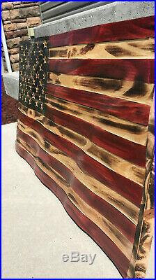 US Wooden Waving Wood Flag Wavy Rustic United States American USA Wood Burned