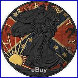 USA 2017 1$ American Eagle 1 Oz Liberty Confederate Flag 9999 Silver Coin