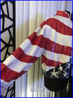 USA 4th Of July American Flag Sequin Vtg Patriotic USA Jacket Coat Bedazzled