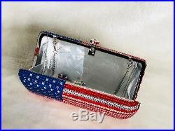 USA American FLAGRedBlue Handmade Crystal Clutch Evening Cocktail Purse Bag