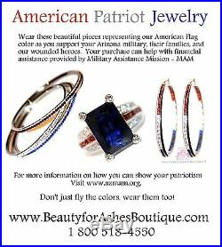 USA American Flag Independence Day 4th of July Patriotic Blue Red White Cz Hoops
