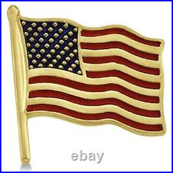 USA American Flag Lapel Pin with Red & Blue Enamel Stripes in 14K Yellow Gold