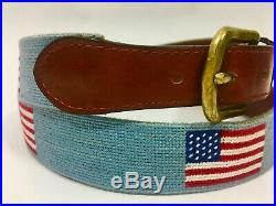 USA American Flag Needlepoint Belt in Antique Blue by Smathers & Branson 40