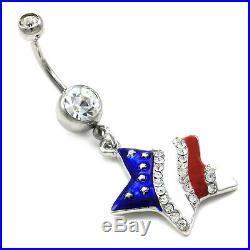 USA American Flag Stars Patriotic 4th of July Independence Day Dangle Belly Ring