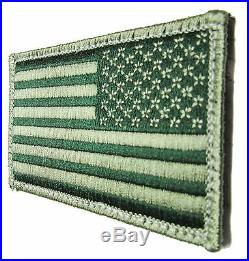 USA American Reverse Flag Tactical Us Army Morale Badge Od Green Hook Patch