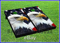 USA Flag Eagle Cornhole Boards BEANBAG TOSS GAME w Bags Patriotic American 1286