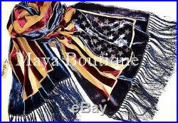 USA Flag Scarf Shawl Fringed Wrap Silk Burnout Velvet Designed By Maya Matazaro