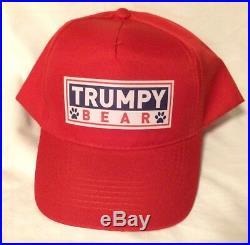 USA GENUINE Trumpy Bear With Hat, Bag, Certificate, & American Flag Blanket NEW