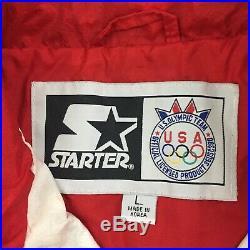 USA OLYMPICS STARTER JACKET Vtg 1996 90s American Red White Blue Flag, LARGE