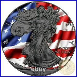 USA PATRIOTIC FLAG American Silver Eagle 2018 Walking Liberty Dollar Coin 1 oz