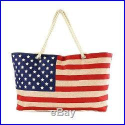 USA Stars & Stripes AMERICAN FLAG PATRIOTIC Zipper LaRGe BURLAP ToTe BAG