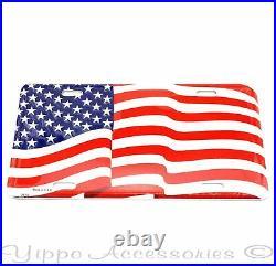 USA Waving American Flag Aluminum Metal License Plate Sign Tag NEW Free Ship