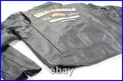USA mens harley davidson leather jacket XL black AMERICAN LEGEND bar US Flag zip