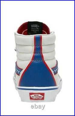 VANS SK8 Hi Leather Skate Shoes Patriotic Stars White Blue Red Mens 12
