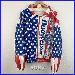 VINTAGE 90'S Budweiser American Flag Jacket Size XL USA Men's All Over Print