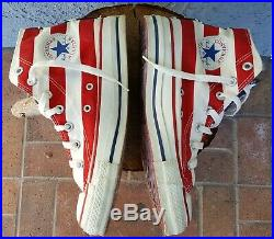 VINTAGE AMERICAN FLAG CONVERSE All Star Chuck Taylor 6 8 Hi Top Made In USA VTG
