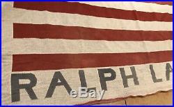 VINTAGE DISTRESSED Polo Ralph Lauren American Flag 54 X 72 Throw Blanket USA