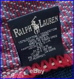 VINTAGE Polo Ralph Lauren American Flag Sport RL-92 Throw Blanket USA 54 x 72