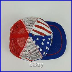 VTG 3 Stripe Desert Storm Veteran American Flag Eagle USA Made Mesh Trucker Hat