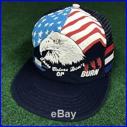 VTG 80S These Colors Dont Run Burn Eagle USA Flag 3 Stripe Snapback Trucker Hat