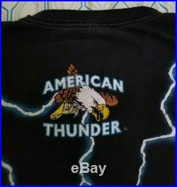 VTG 90s American Thunder Skeleton Cowboy T Shirt Southern Flag USA Rebel Large