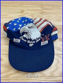 VTG American Eagle These Colors Don't Run or Burn Three Stripe Trucker Hat USA
