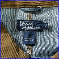 VTG Polo Ralph Lauren SPORTSMAN Denim Jean Trucker Jacket XL Corduroy Collar USA