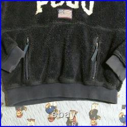 VTG Ralph Lauren Polo Sport Navy POLO Spellout Fleece Pullover Hoodie MEDIUM USA