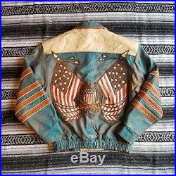 VTG USA Montana Street Wear Sz XL Distressed Leather Jacket Blue American Flag