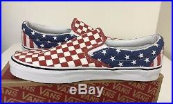 Vans Slip On Van Doren Stars And Stripes Checkered USA American Flag Mens Sz 11