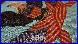 Very Fine 1928 Native American Yakima Beaded Bag Patriotic Eagle U. S. Flag