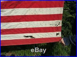 Vintage 13 Star Dettra Bulldog Bunting American Flag 3' x 5' Embroidered USA