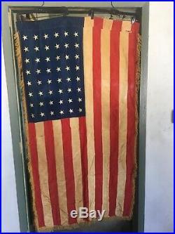 Vintage 1940s 48 Star American Flag USA Antique Embroidered Silk Fringe