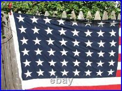 Vintage 48 Sewn Star & Stripe Valley Forge US Flag WWI/WWII Era American USA F