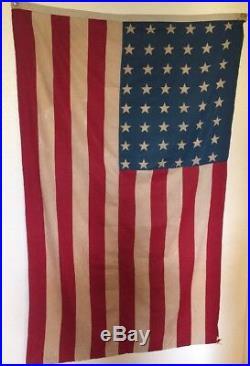 Vintage 48 Star US American Flag 71 x 44 Cotton Cloth U. S. USA
