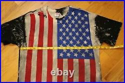 Vintage 90s Mosquitohead USA Flag T-shirt Size Large All Over Print American VTG