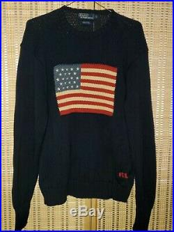 Vintage 90s Polo Ralph Lauren Knit Sweater Big USA American Flag Mens Size Large